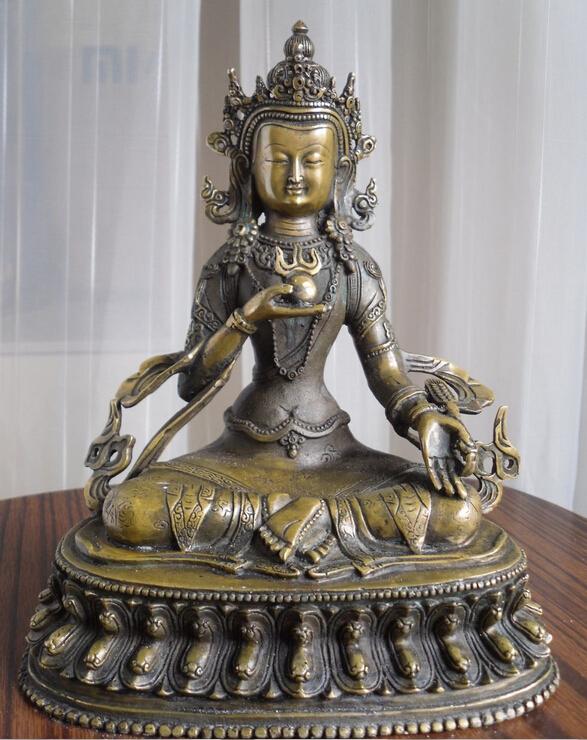 Здесь можно купить  xiuli 003749 Tibetan Buddhist bronze double lotus bass Ksitigarbha buddha statue  Дом и Сад