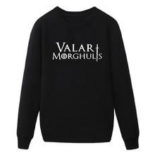 Valar Morghulis Game of Thrones Inspired Printed Mens Hoody Sweatshirts Camisetas Masculinas Jumpers Manga Curta Camisa Hoodies