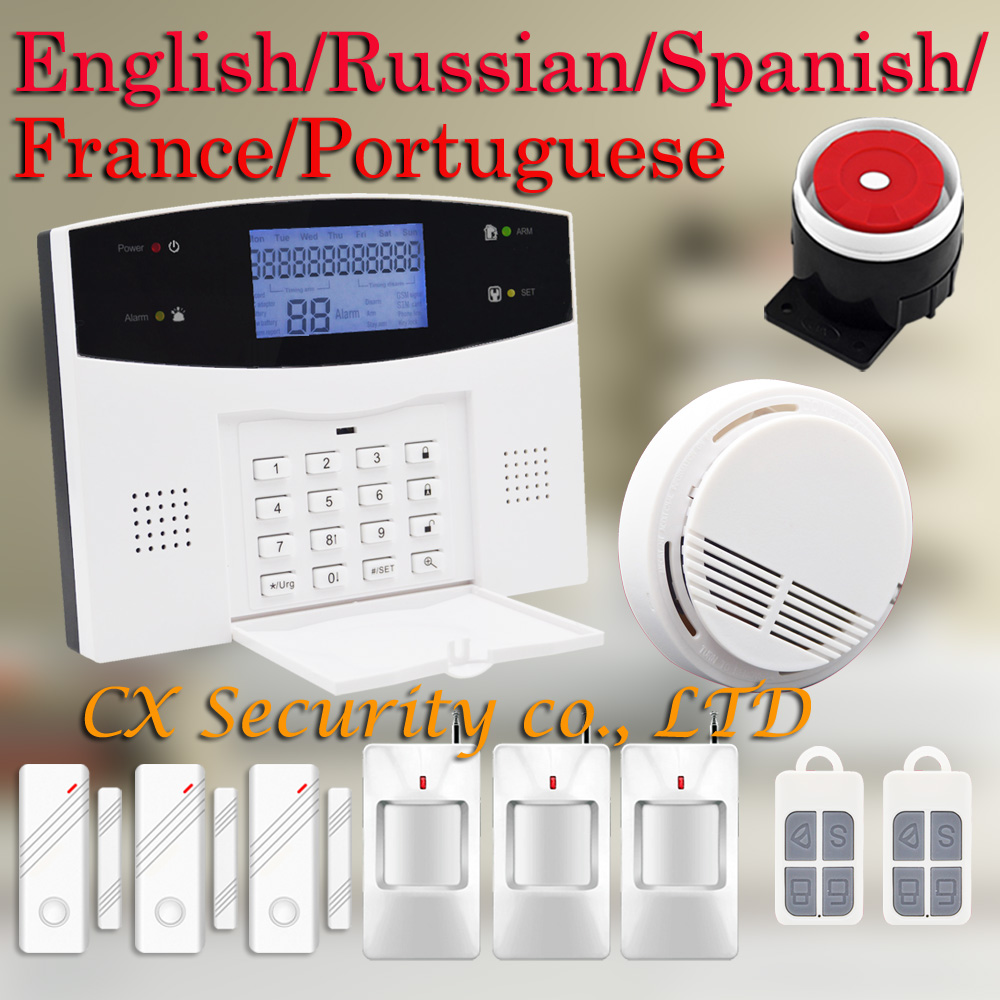 Free Shipping Wireless Home Burglar PSTN GSM Alarm System Support English / Russian / Spanish / France / Portuguese M3B-03