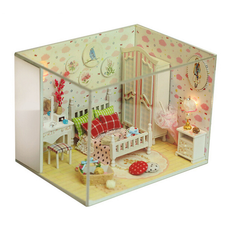 """DIY Dollhouse Miniature Model Building Kits Wooden Toys for Kids/Friends,""""Kelly Sweet""""Mini House Scale Model Furniture Toys(China (Mainland))"""