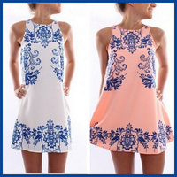2015 Summer Style Hot Sale New Fashion Elegant  Beach Retro Ceramic Print Dress Femme Vestido Round Neck  Women Chiffon Dress