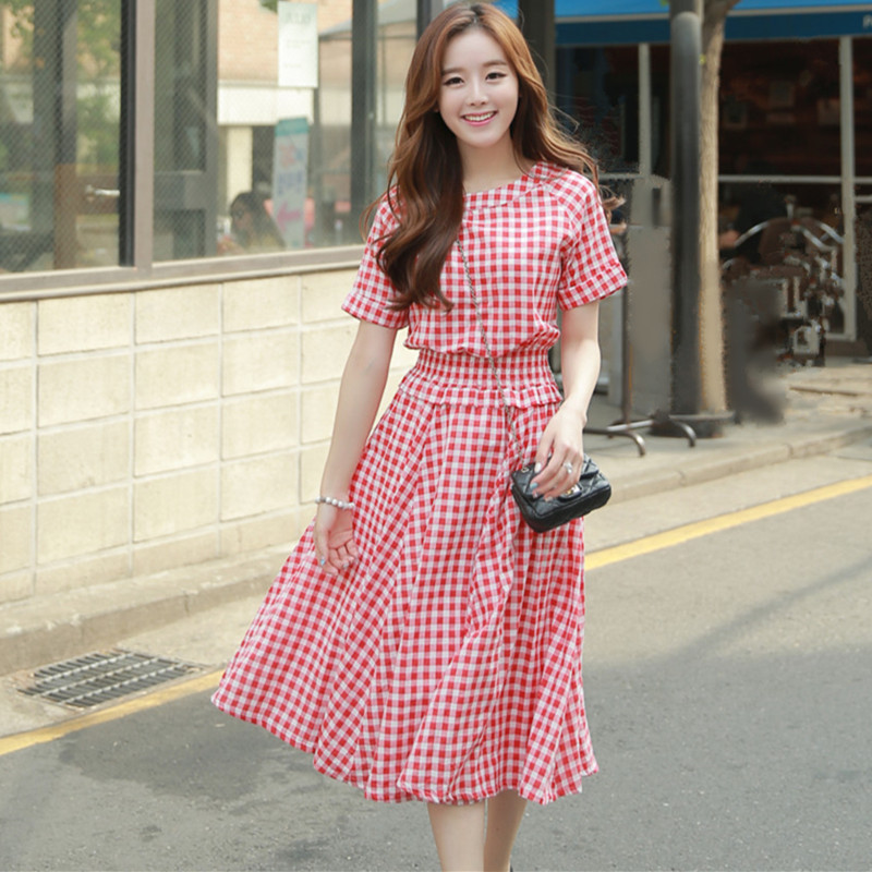 2016 Korean Fashion Summer Style Women Casual Cotton Linen Dresses Stretchy Slim Elastic Waist