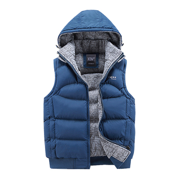 New Mens Jacket Sleeveless veste homme Winter Fashion Casual Coats Male Hooded Cotton-Padded Men's Vest men Thickening Waistcoat