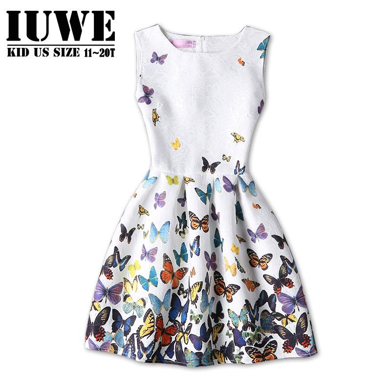 Girls Summer Dress 2016 Kids Dresses for Girls of 12 Years Sleeveless Printed White Butterfly Princess Dress Teenagers Vetement(China (Mainland))