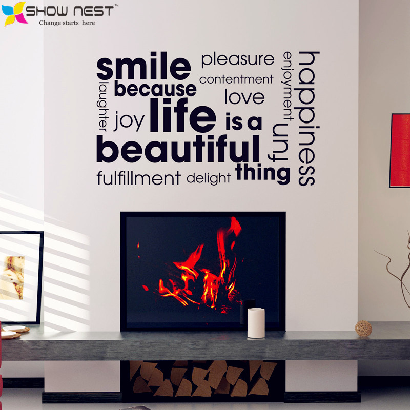 smile quotes cloud montage wall stickers home decor