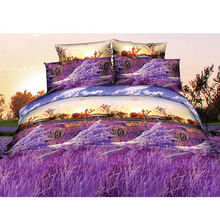 4pcs 3D Printed Bedding Set Bedclothes Purple Lavender Queen Size Duvet Cover+Bed Sheet+2 Pillowcases Home Textiles(China (Mainland))