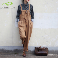 Johnature Vintage Cotton Linen Women Jumpsuits Full Length Loose Plus Size 2017 New Spring Mori Girl Strap Belt Rompers(China (Mainland))