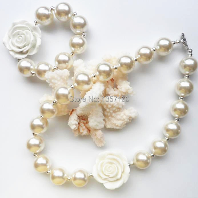 pure white pearl big flower fashion kids chunky bubblegum bead jewelry necklace and bracelet sets 2PCS/Lot for children jewelry(China (Mainland))
