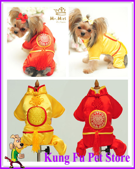 New Year Dogs Tang Suit Winter Elastic Silk Chinese Style Jumpsuits Large Size XS-XL Warm Pet Casual Clothes For Animals P413(China (Mainland))