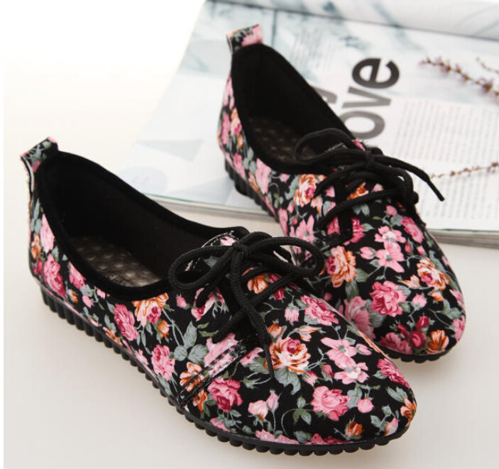 2015 Women floral Pointed Toe Shoes Vintage Style Summer Flats lace-up Patent Size 35-40 - SAR store