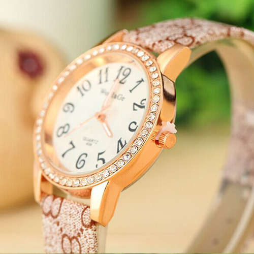 2015 new!4 color optional high-end leisure fashion set auger round watch, elegant business ladies watch lady/girl gift watch(China (Mainland))