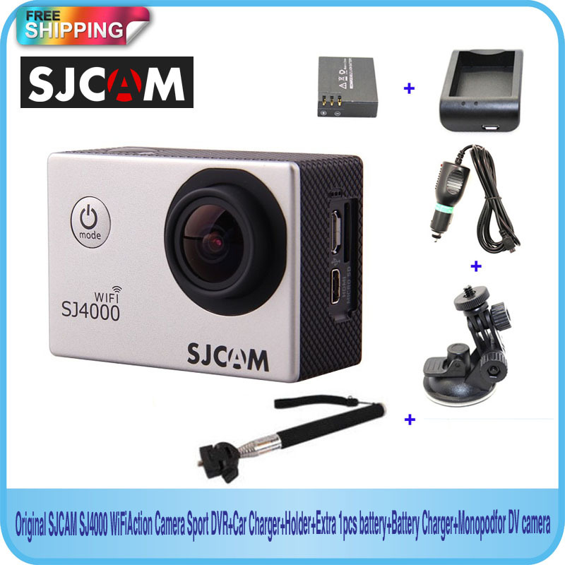 Free shipping!!Original SJCAM SJ4000 WiFi Sport DVR+Car Charger+Holder+Extra 1pcs battery+Battery Charger+Monopod for DV camera(China (Mainland))