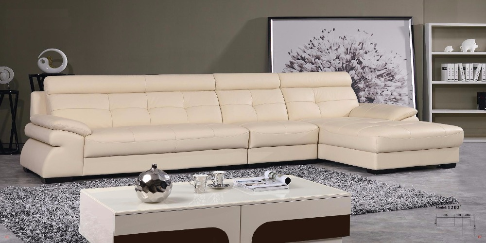 Elegant Beige City Style Corner Sofa Living Room Leather Sofas LBZ-1202#real/genuine leather sofa(China (Mainland))