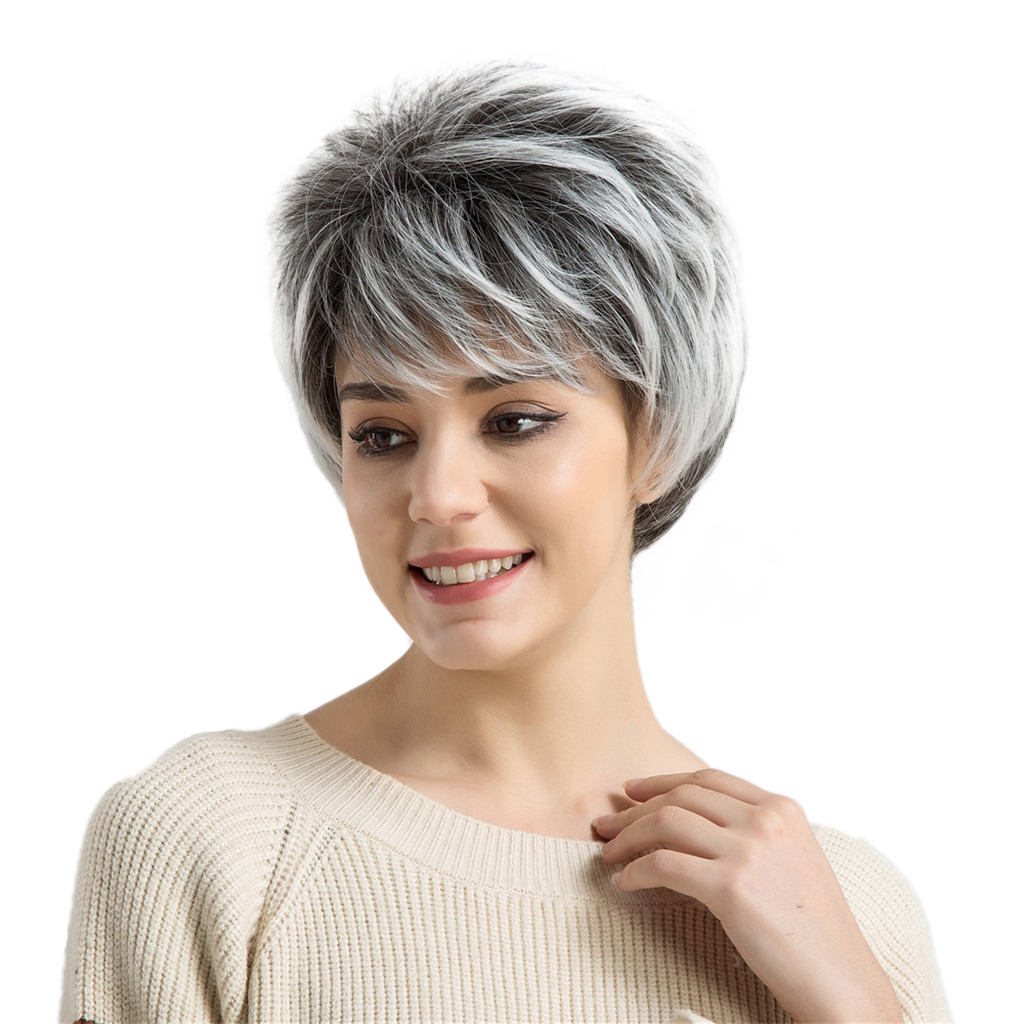 Short Grey White Straight Layered Shaggy Costume Cosplay Full Hair Wigs Side Part Hairpiece for Women 10 Inch