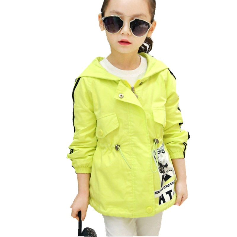 Children Long Section New Spring Coat Girls Windbreaker Casual Kids Clothing Blue Pink Green<br><br>Aliexpress