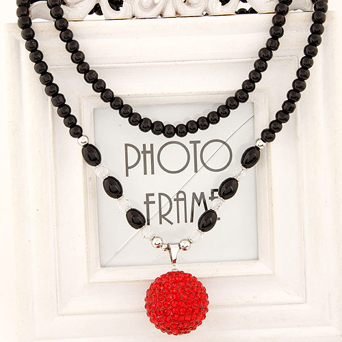 Fashion Costume Accessories Jewelry Black Chains Beads Ball Pendants Office Crystal Red White Blue Long Women Sweater Necklaces(China (Mainland))