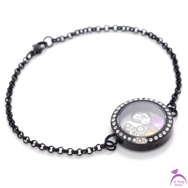 Fashion DIY 0.9mm wire 3mm width 7''-8'' 25mm Black 316L stainless steel living magnetic glass floating locket bracelets B108(China (Mainland))