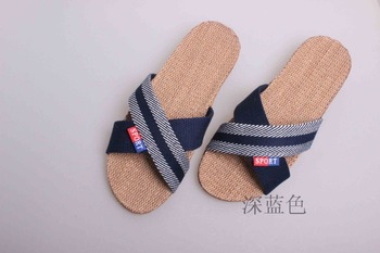 2016 New Home Stripes Cross Flax Slippers Fashion Women Linen Slippers High quality Summer Indoor Shoes