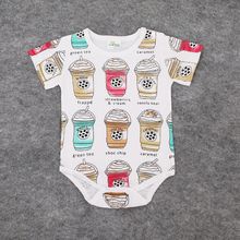 Baby clothes Summer 2016 Baby Girls Coffee Cup Print Cartoon Romper Infant Boys Cotton Clothing Sets Newborn Jumpsuits costumes(China (Mainland))