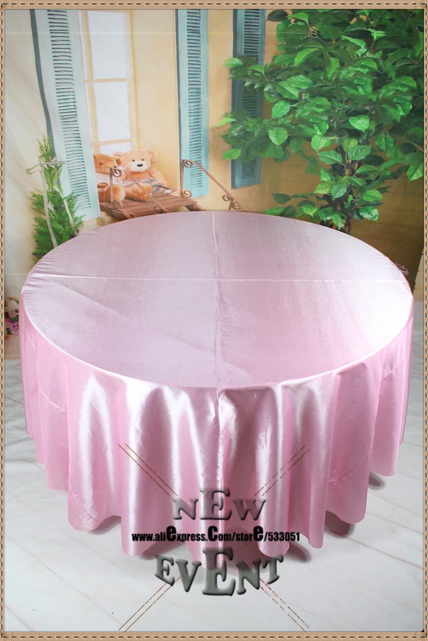 "New Design For 2016 90"" 108"" 128"" Pink Color Taffate Tablecloth For Wedding Party Home Decorations/Wedding Supplies(China (Mainland))"