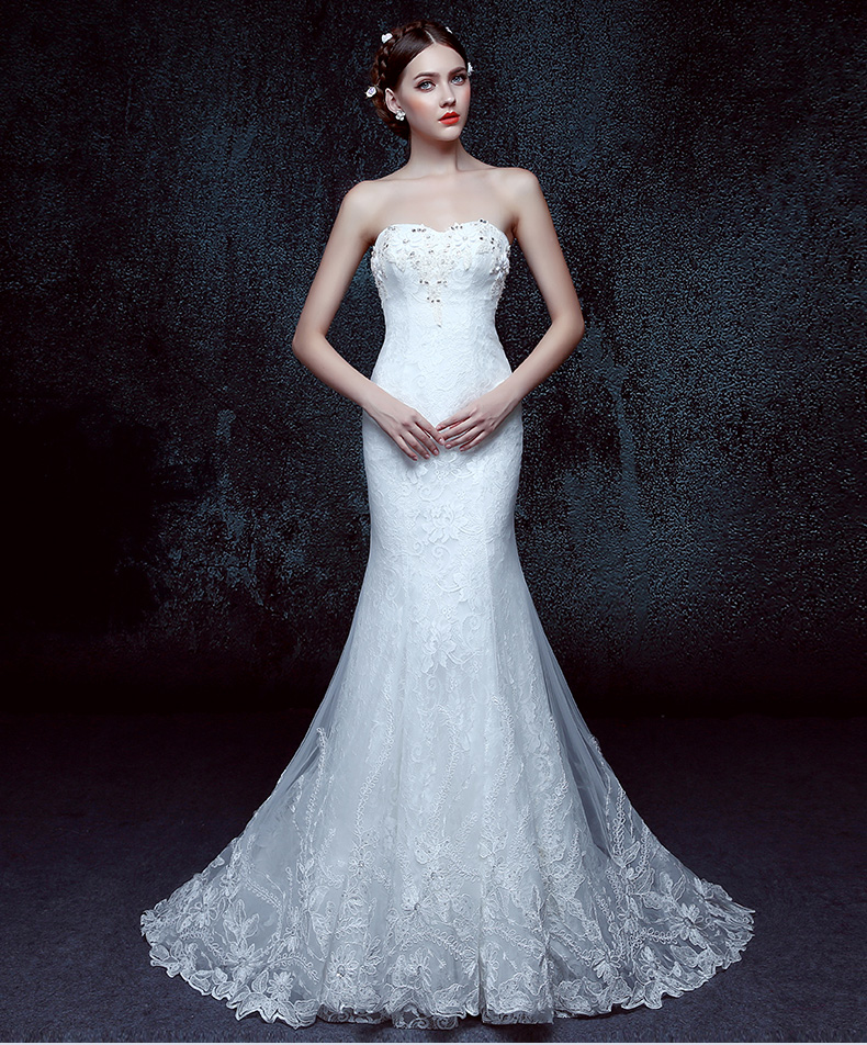 Ivory strapless custom lace fabric satin mermaid bridal for Cloth for wedding dresses