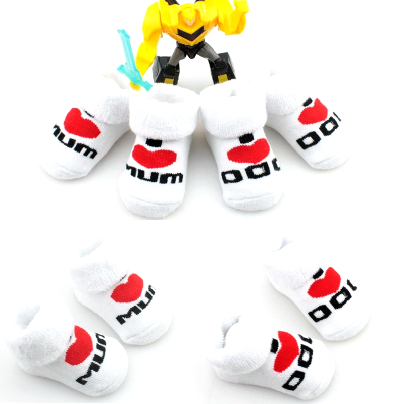 1pair 100% cotton Baby socks rubber slip-resistant floor socks love dad love mum cartoon kids socks for girls GTWS0020(China (Mainland))