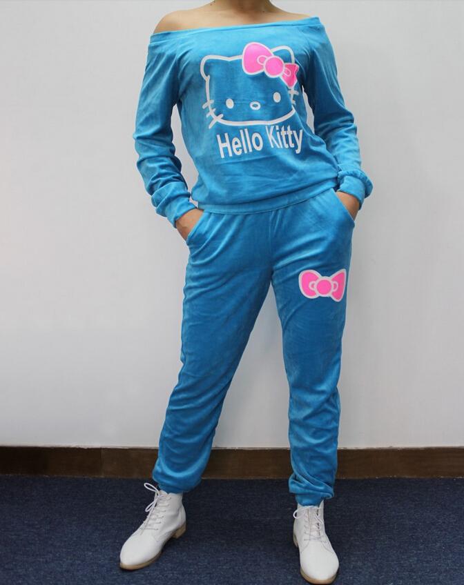 2015 autumn winter women hello kitty printed velvet sweatshirts 2pcs set hoodies pullover sportsuit women tracksuits tops+pant(China (Mainland))