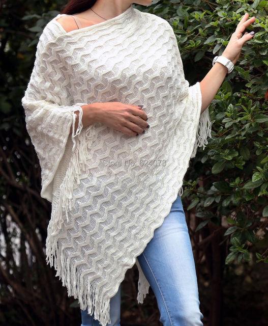 Продвижение элегантный мода одежда Sequine пончо плащ свитера для женщин осень зима ...
