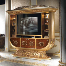 European Style Luxury Imperial Wood Carved Champagne Gold TV Cabinet TV Stand(China (Mainland))