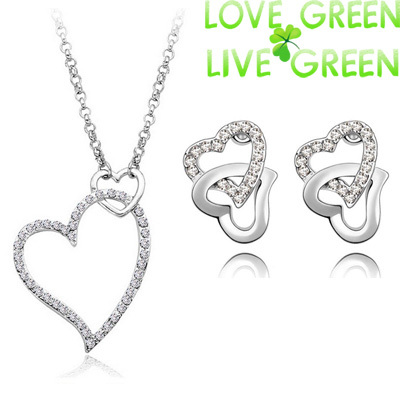 2015 new design s 18K GP Austrian Crystal Necklace Earrings water drop Pendant fashion Jewelry Sets 43983 - Love Green Live Green--fashion store