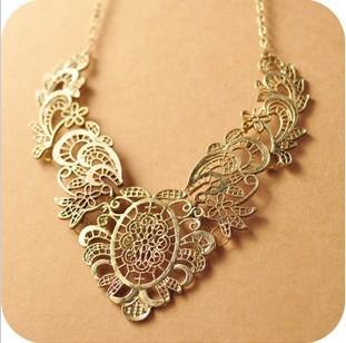 viviLady Vintage Zinc Alloy Collar Flower Leaf Necklace Women MN149 Classic Jewelry Choker
