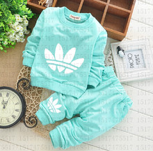 2016 Newborn Baby Clothing Sets Toddler Boys Girls Leisure Suits Long Sleeve T-shirts + Pants 2pcs Kids Clothes Free Shipping