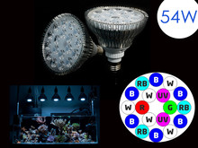 HOT!2016 new Aquarium Lamp E27 54W white+blue +green+red +UV LED Coral Reef Grow Light High Power Fish Tank LED Bulbs free ship(China (Mainland))