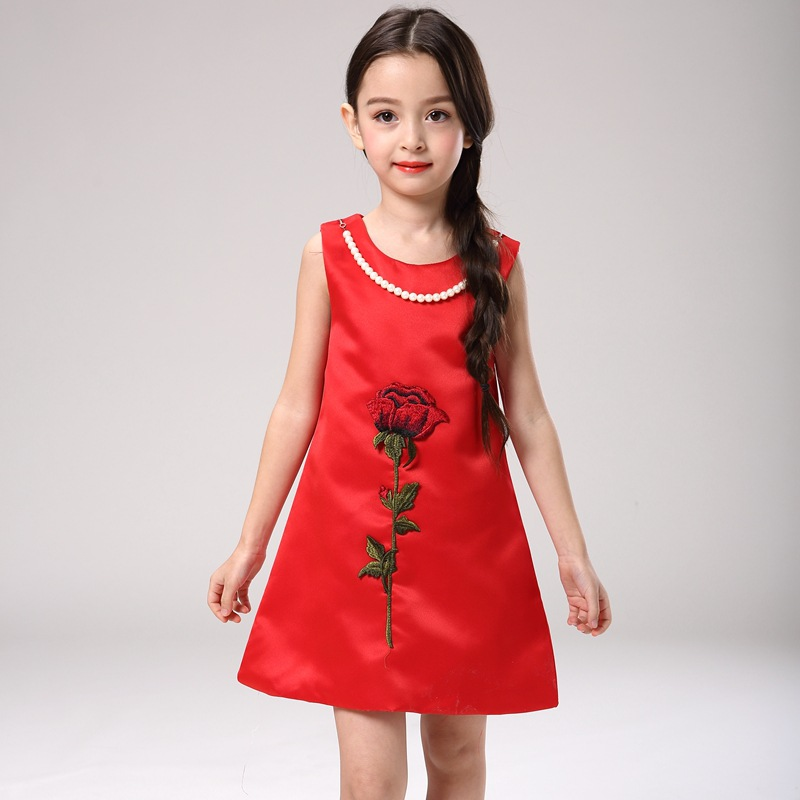 2016 Girls Dresses Summer 2016 Flower Embroidery Sleeveless Party Dress Vintage Girls Kids Dresses For Girl Dress Vestido Robe F<br><br>Aliexpress