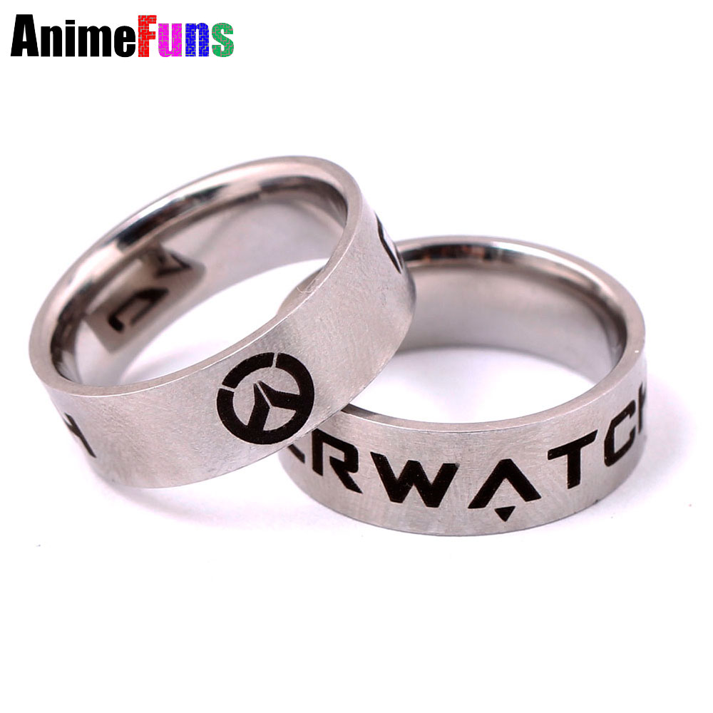 2016 New Arrive Game Overwatch ring Stainless Steel Overwatch Rings Men's Key Ring Holder US Size 8# 9# 10# 11#
