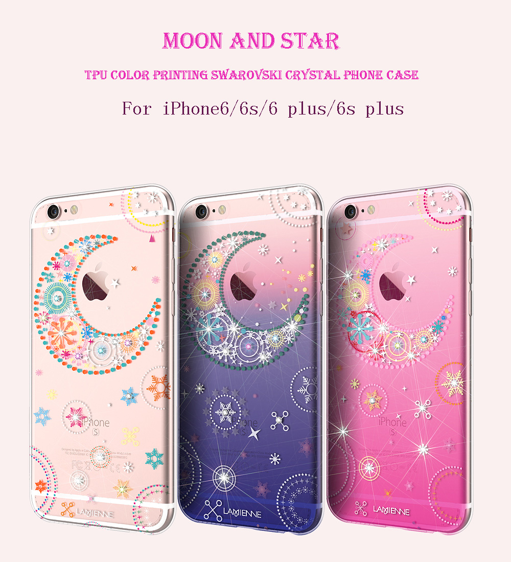 Soft TPU Moon and Star Swarovski Crystal Glitter Case For Iphone 6 6s Plus Protect Skin Rubber Phone Cover Fundas Silicone Case(China (Mainland))