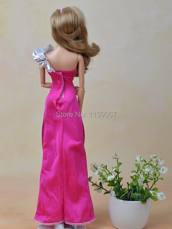 2pcs/lot Rose & Silver Lengthy Fishtail Occasion Night Robe Costume Garments Outfit For 1/6 Kurhn Barbie Doll Ladies Birthday Present