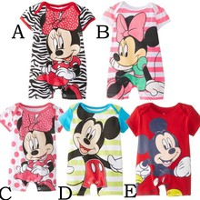 2014 new cartoon pattern short-sleeved Romper baby climbing clothes(China (Mainland))