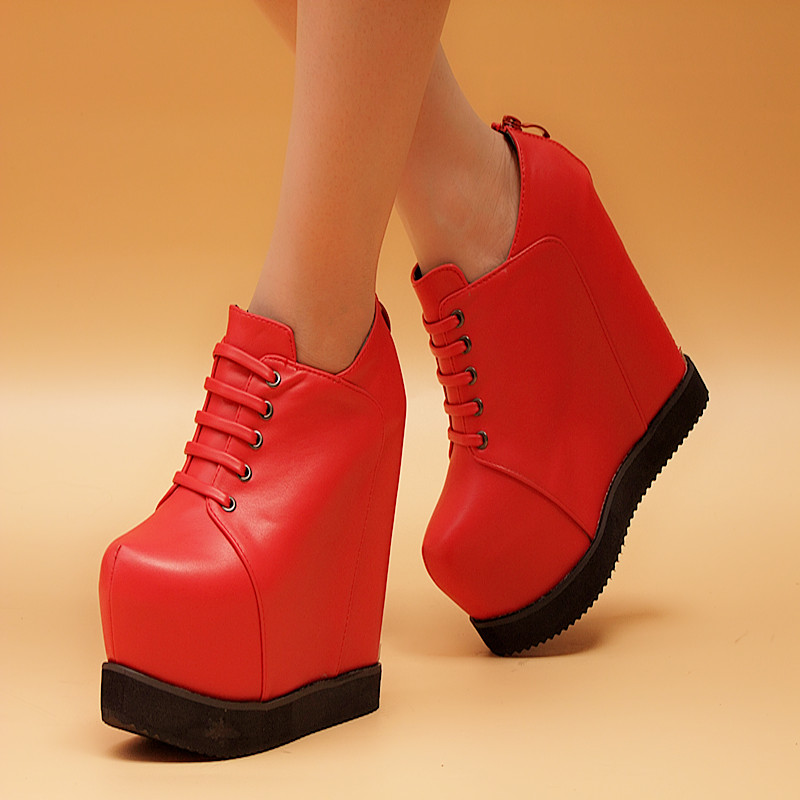 2015 autumn and winter fashion platform shoes martin boots female boots elevator wedges ankle boots women's shoes boots