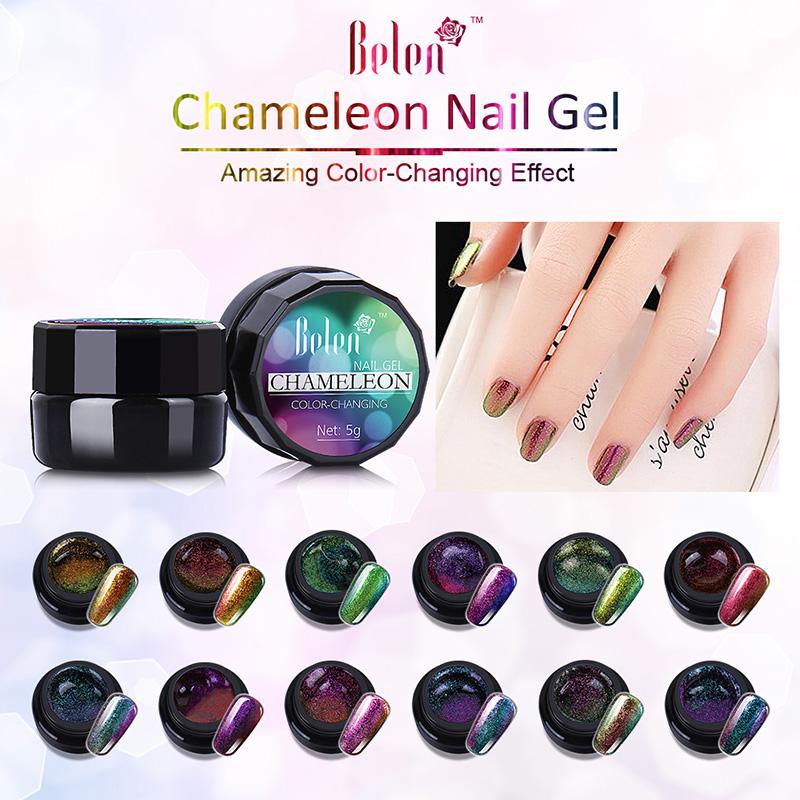 Belen 5ml Gel Polish Varnishes Color Changing Nails Glue Acrylic Paint Polish Nail Brush UV Gel Nail Polish Bling Chameleon Gel(China (Mainland))