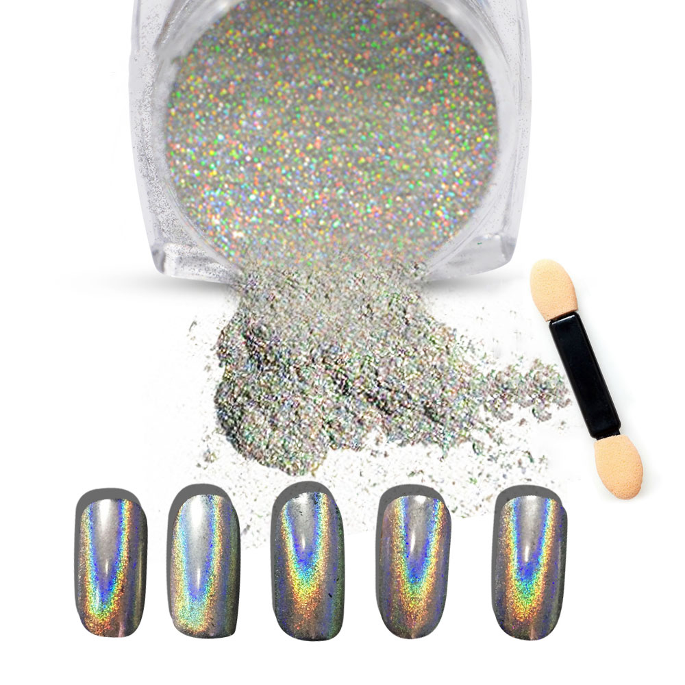 New 1g/Box Shiny Laser Nail Holographic Powder Rainbow Nails Glitter Dust Chrome Pigment Manicure Pigments Nails Art Decorations(China (Mainland))