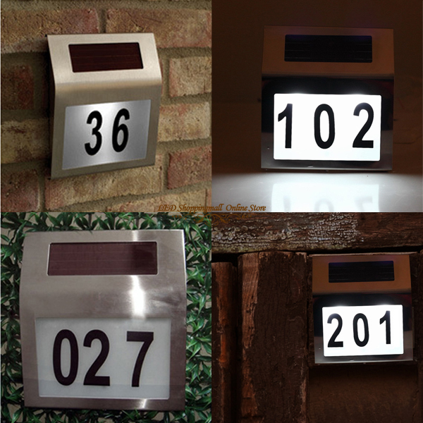 Freeshipping 6 pcs/lot Solar doorplate lamp light,light-operated led billboard lamp of house number,solar wall light(China (Mainland))