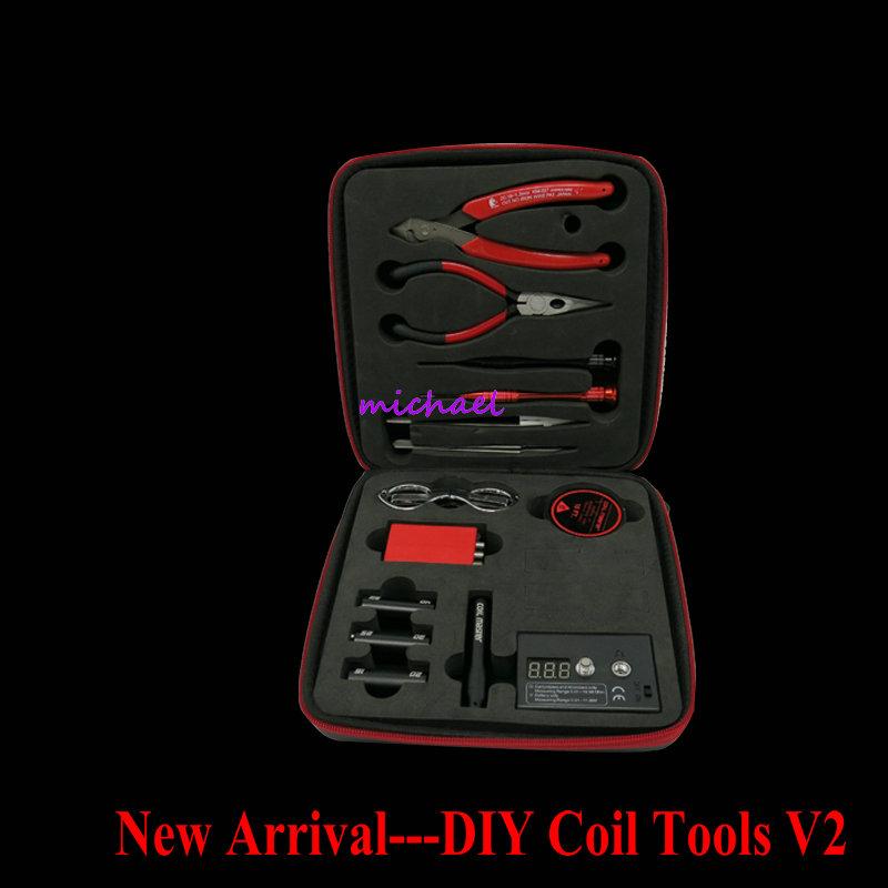 2016 New DIY atomizer coils tool 2.0 V2 Complete kit diy tooling coil winder ceramic tweezer coil jig kit For RDA RBA atomizer(China (Mainland))