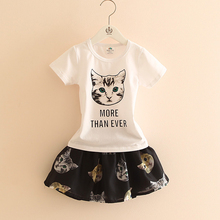 Buy T Shirt Kids Cat Letter Girl T-shirt Short Sleeve O-neck+Girls Skirts Printing 2 Pieces Fashion Kids Clothes Girls 2457Z for $14.57 in AliExpress store