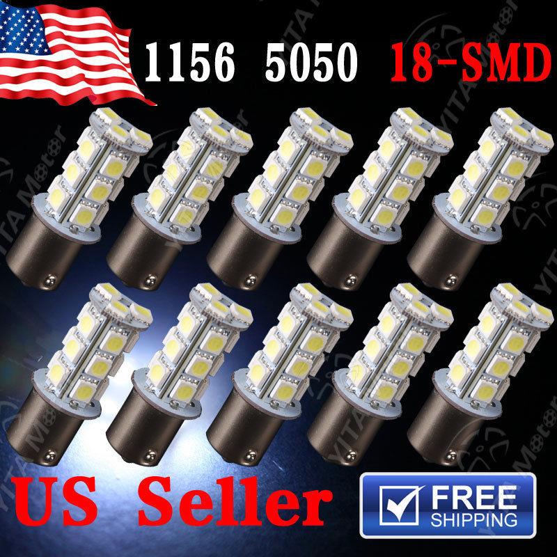 Hot ! 10Pcs Car led Lights Xenon White 12V 5050 18SMD 1156 BA15s Car Bulbs Stop Tail Brake 1141 Light Rear Lamp Free Shipping(China (Mainland))