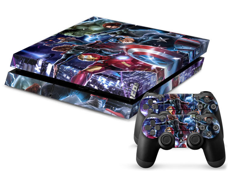 1Set Customs Super Heroes Skin Sticker For Sony Playstation 4 PS4 Console Skins Vinyl Decal Stickers For PS4 Controller Games(China (Mainland))