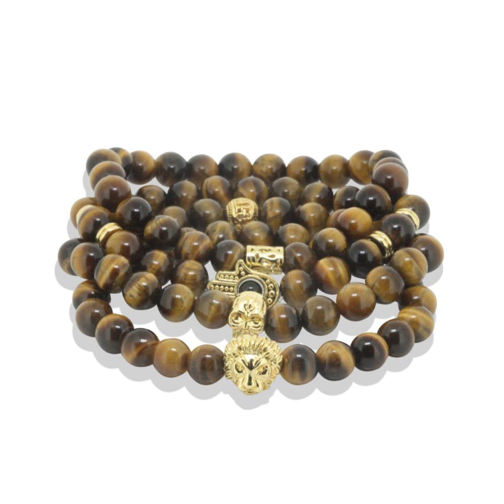 10pcs 24K Gold Plated Hamsa Hand Lion Head Skull Head Charm Bracelet Yoga 8mm Energy Yoga Stone Bead Men Bracelet Brown Pattern(China (Mainland))