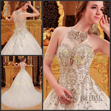 2017 High neck ball gown long train bling diamond chapel train luxury crystals wedding dresses online wedding gowns dress BS02(China (Mainland))