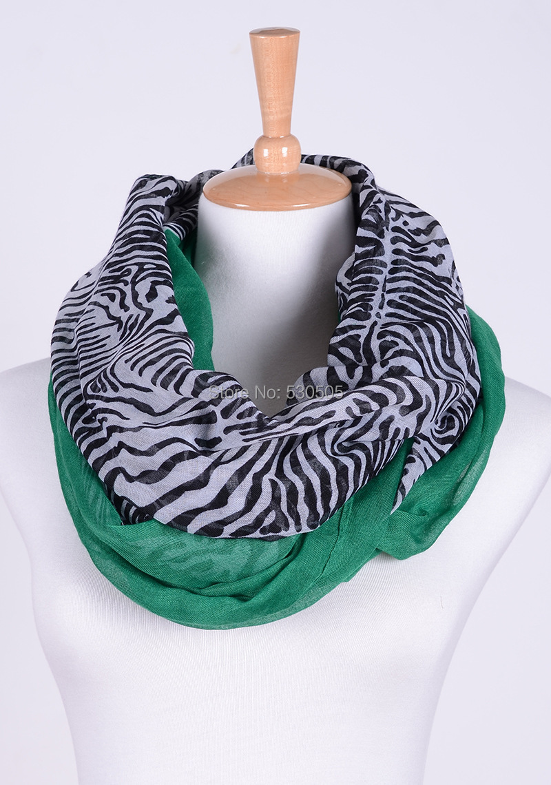 2 Chic Multi-Color Zebra green Scarf or Wrap FREE SHIPPING(China (Mainland))