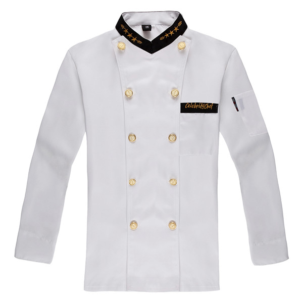 Unisex Double-breasted Chef's Uniform Long sleeve Chef Jackets Chef Kitchen Fashionable Work Wear Chef service Gilt buttons(China (Mainland))